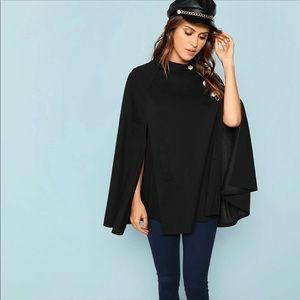 Buttoned Front Black Cape Coat Size L